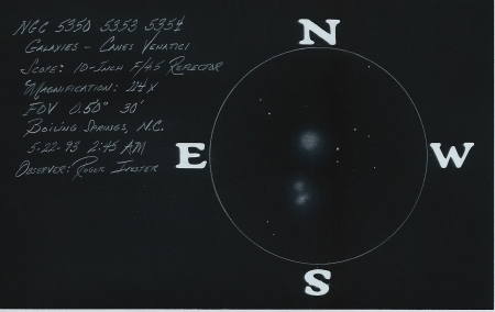 NGC 5350, 5353, 5354, Galaxies Canes Venatici, 10-inch Reflector @ 114x