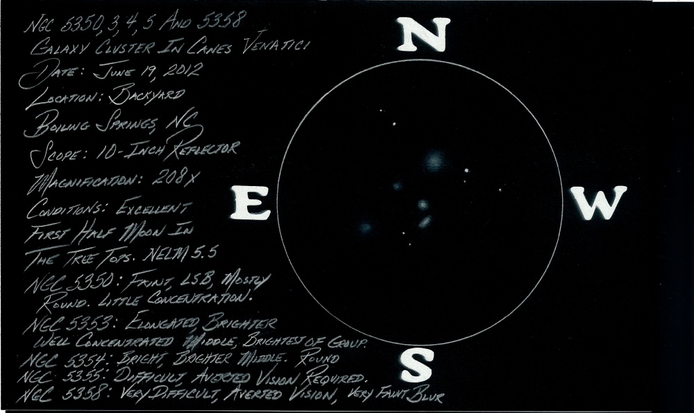 NGC 5350, 5353, 5354, 5355, and 5358 - A Fabulous, But Often Neglected Galaxy Group in Canes Venatici - July 6th 2012 (1/2)