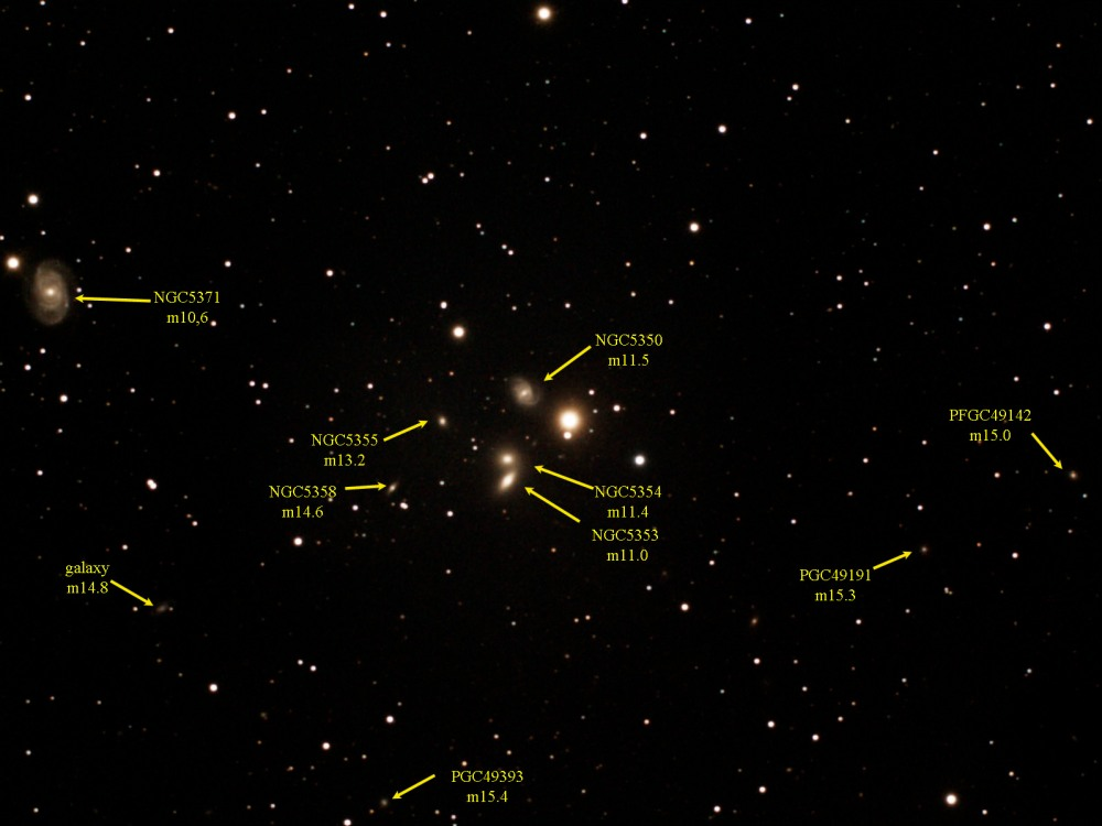 NGC 5350, 5353, 5354, 5355, and 5358 - A Fabulous, But Often Neglected Galaxy Group in Canes Venatici - July 6th 2012 (2/2)